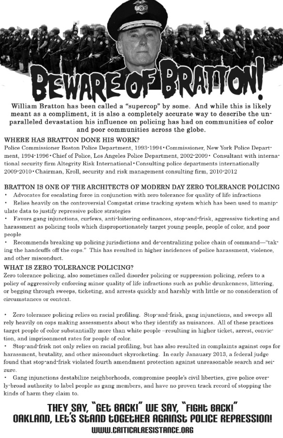 BEWARE OF BRATTON flyer and fact sheet